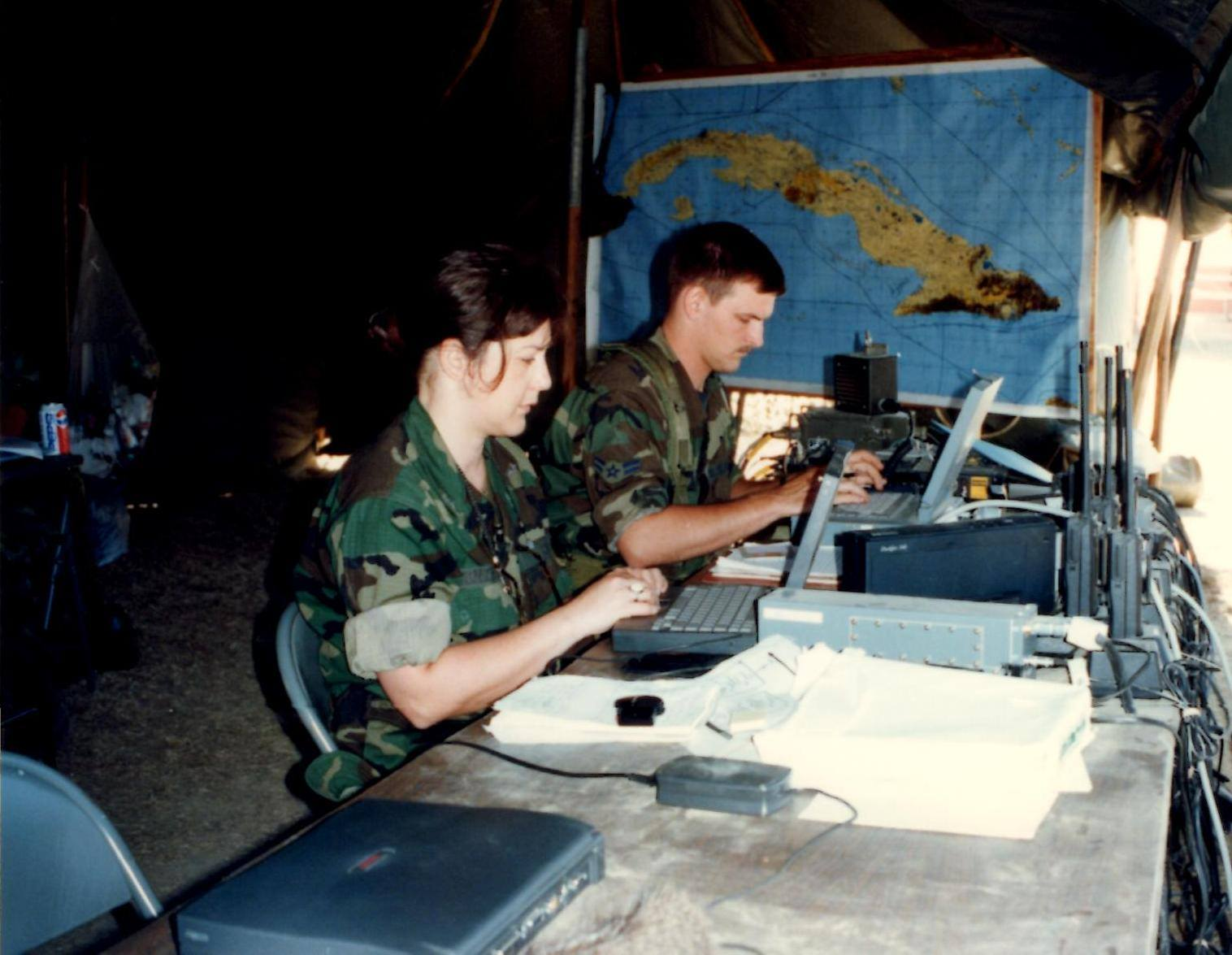 Working during an exercise at U.S. Naval Station Guantanamo Bay, Cuba in 1997. Photo credit: Iris Gonzalez