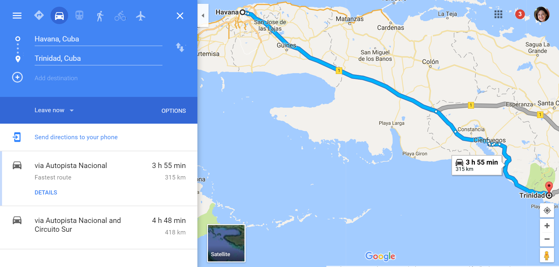 Google Maps shows the route from Havana to Trinidad in Cuba.